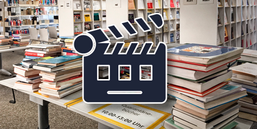 """Quarantänebücher"" in der Bibliothek Alte Münze, Foto: Barbara Mönkediek / Universitätsbibliothek, mit Kamerasymbol, Grafik: Cinema Flapper Transparent Icon, CoolVectorStock / Adobe Stock #233832934"